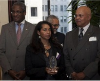 Ingrid Merriwether accepting 100 Black Men of the Bay Award